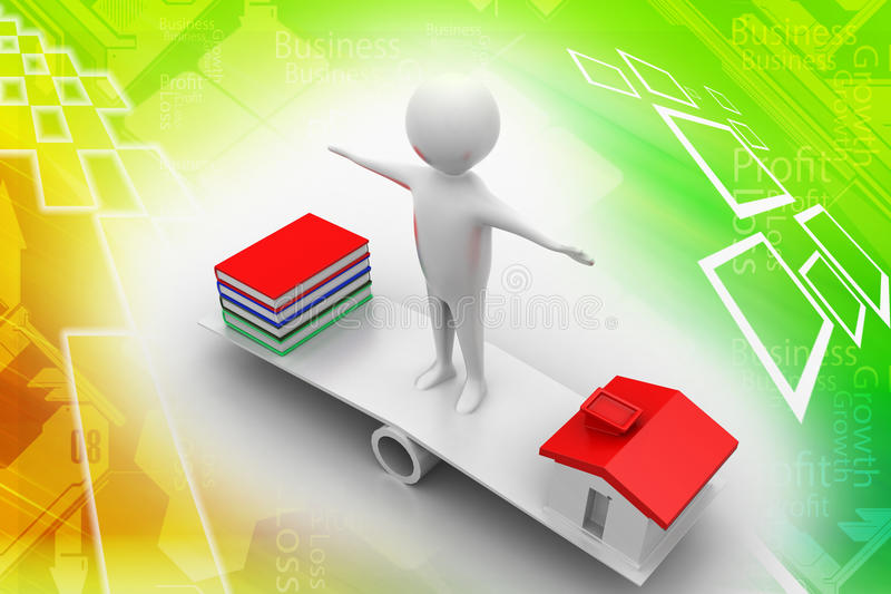 Download 3d People Standing In See Saw With Books And House Stock Illustration - Image: 39780468