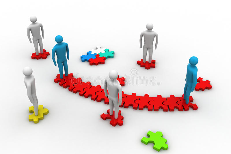 3d people on top of puzzle pieces royalty free illustration