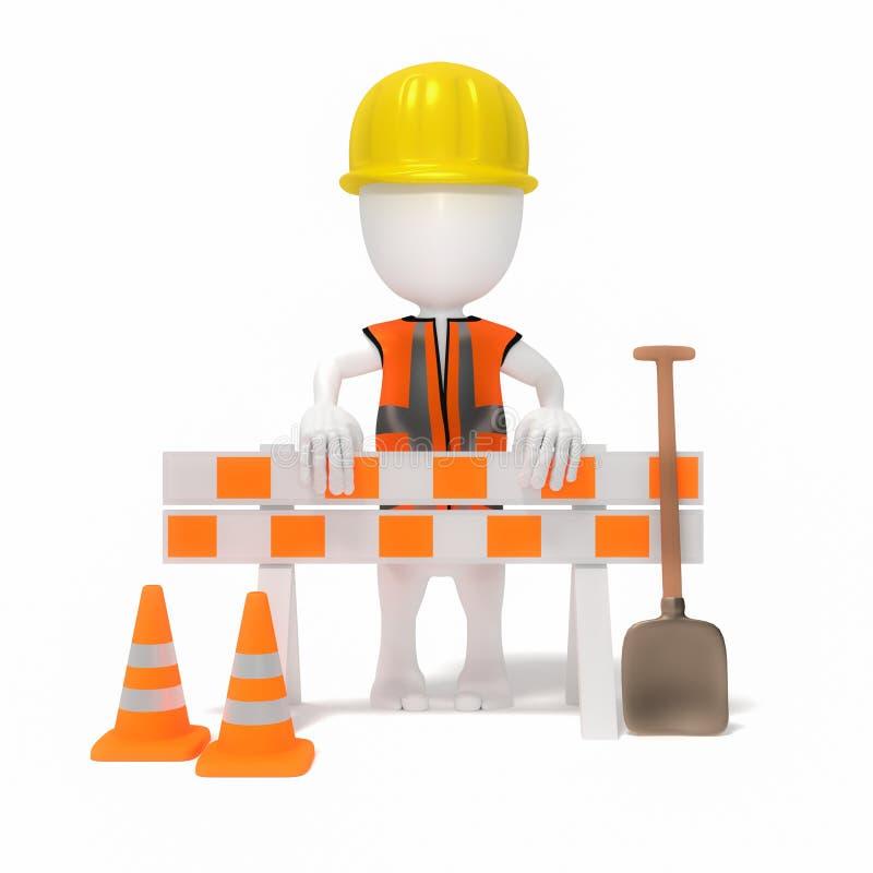 3d people under maintance. Worker under maintance work in progress royalty free illustration