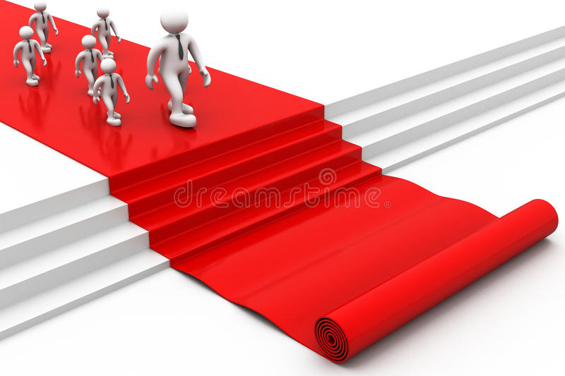 3d people walking on red carpet stock illustration