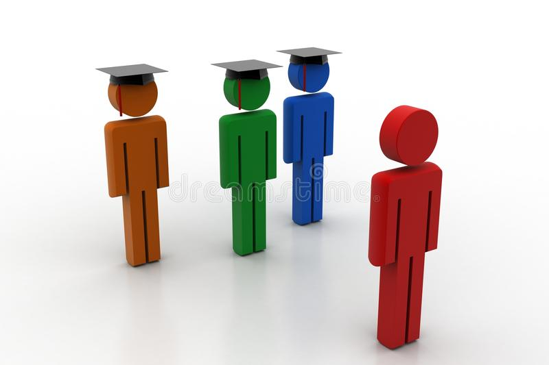 3d people wear graduation cap for pledge. In white background royalty free illustration