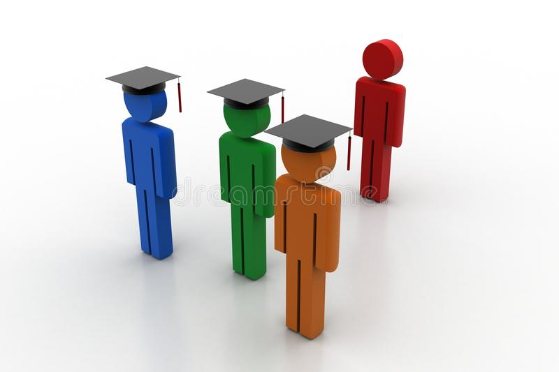 3d people wear graduation cap for pledge. In white background stock illustration