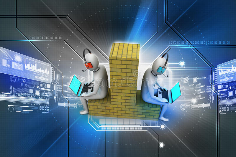 3d people working in laptop stock illustration
