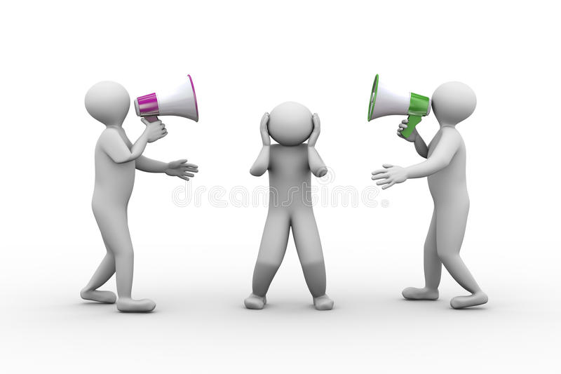 3d people yelling with megphone. 3d illustration of two person shouting and yelling through megaphone to another man. 3d human person character and white people vector illustration
