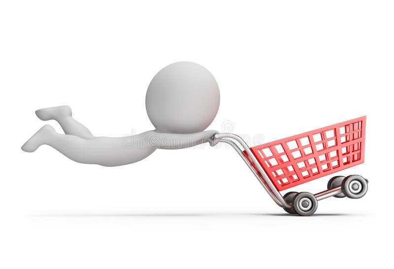 3d pequeña gente - carro de la compra rápido stock de ilustración