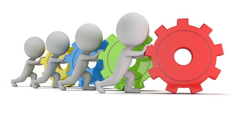 3d pequeña gente - equipo con los engranajes stock de ilustración