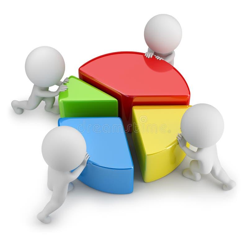 3d pequeña gente - estadísticas del trabajo en equipo stock de ilustración