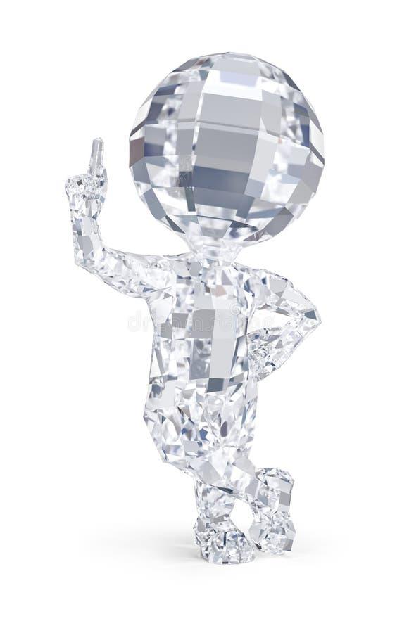 3d pequeña gente - hombre del diamante fotografía de archivo libre de regalías