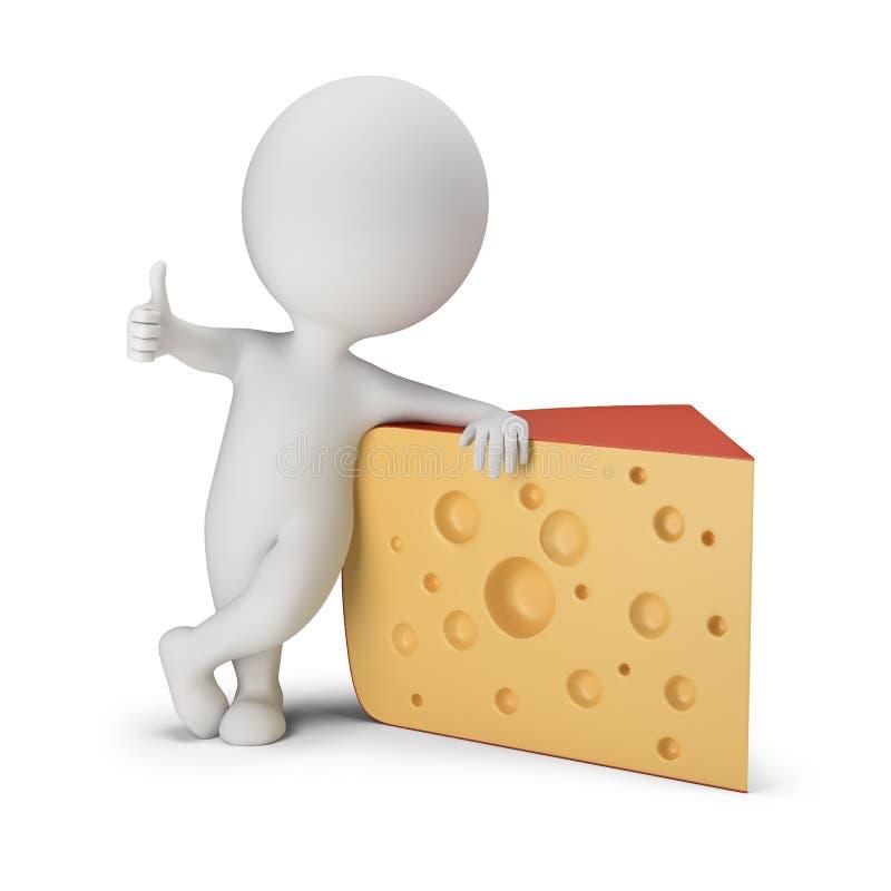3d pequeña gente - queso foto de archivo