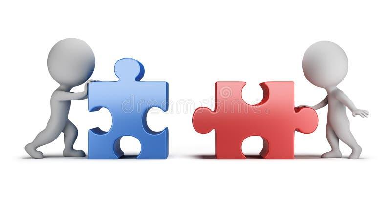 3d pequeña gente - relaciones mutuas ilustración del vector
