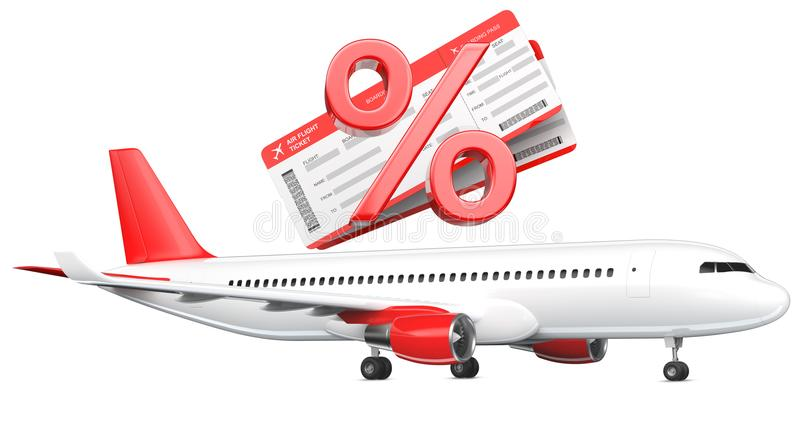 3D Percent or discount Symbol with airline boarding pass tickets over the commercial airplane, passenger plane, 3D vector illustration