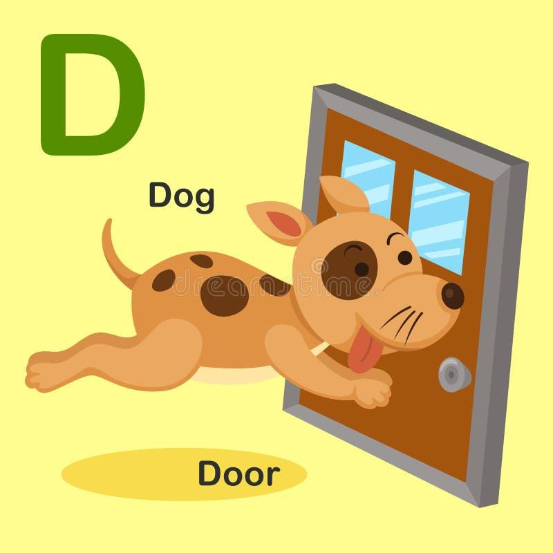 D-perro animal de la letra del alfabeto del ejemplo, puerta stock de ilustración