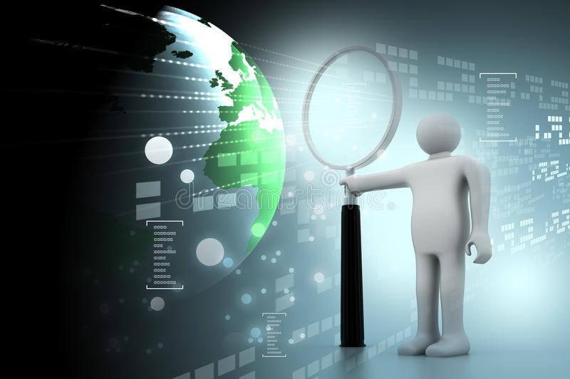 3d person with a big magnifying glass stock illustration