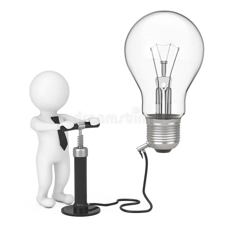 3d Person with Black Hand Air Pump Inflates Idea Light Bulb. 3d vector illustration