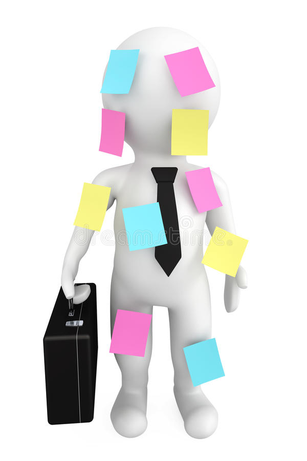 3d Person Businessman With Memo Papers Royalty Free Stock Photography