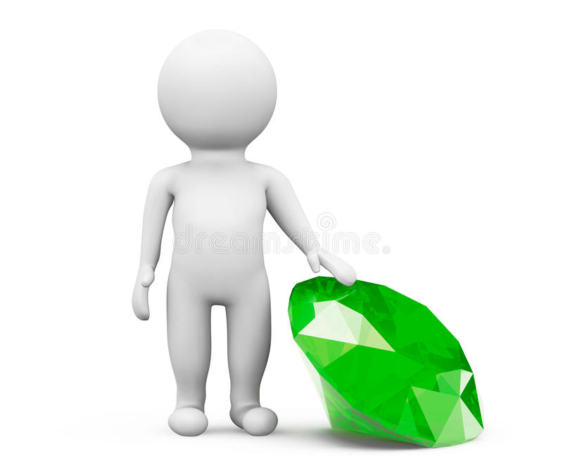 3d person with green diamond vector illustration