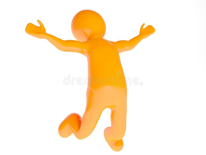 3d person happy jump. On white background stock illustration