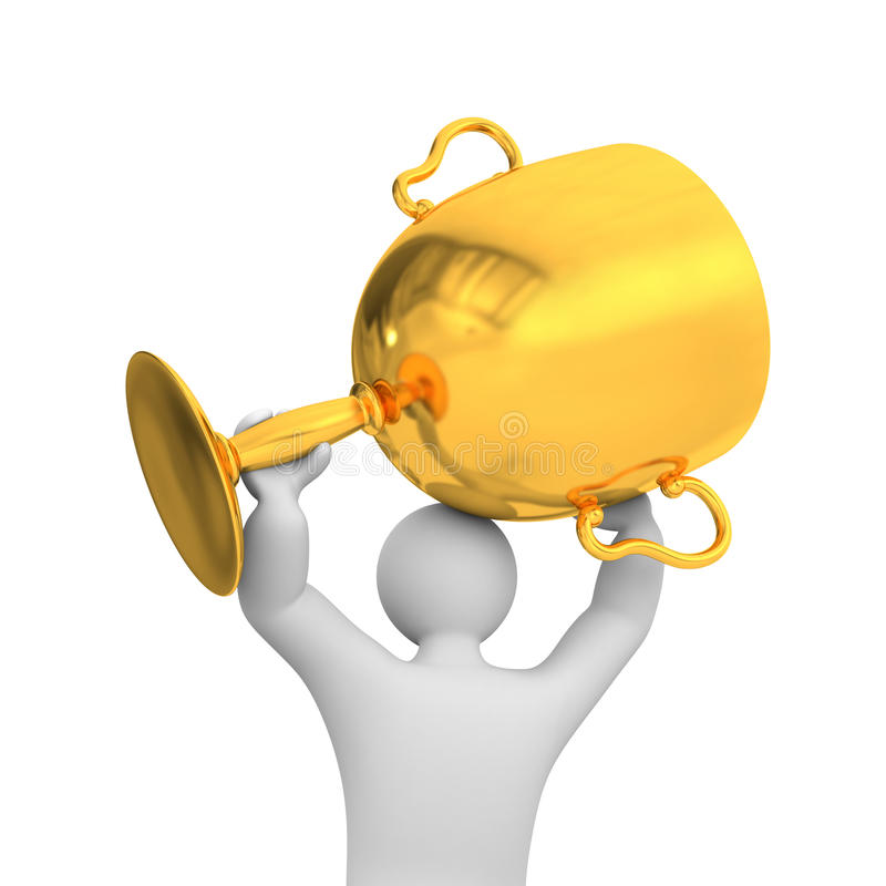 3d person hold gold cup. Success metaphor stock illustration