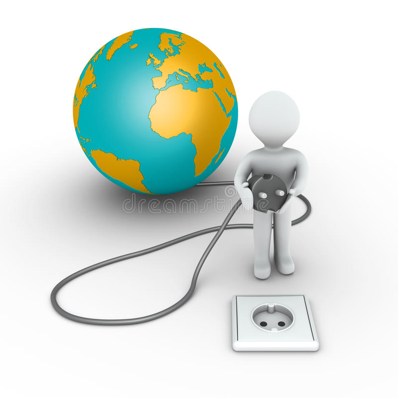 Download Person Is About To Plug In The Globe Stock Illustration - Illustration: 30099890