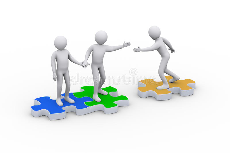 3d person on joining group of people. 3d illustration of man on puzzle piece joining team. Concept of teamwork and leadership. 3d rendering of people - human royalty free illustration