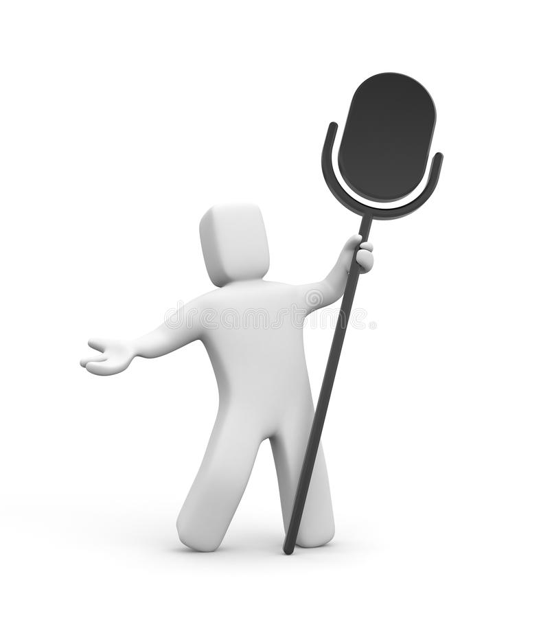 3d person and microphone. 3d person and silhouette of microphone vector illustration
