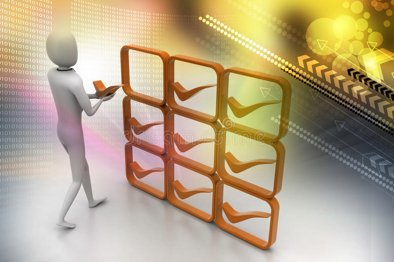 3d person with positive symbol in hands stock illustration