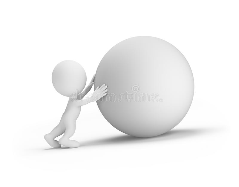 3d person pushes the orb. Man pushes the orb up the hill. 3d image. White background royalty free illustration