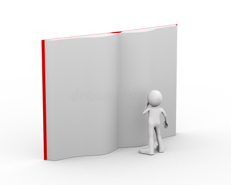 3d person reading large open book royalty free illustration