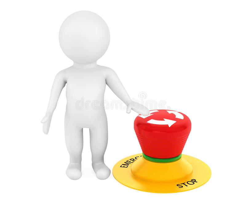 3d person with red emergency button stock illustration