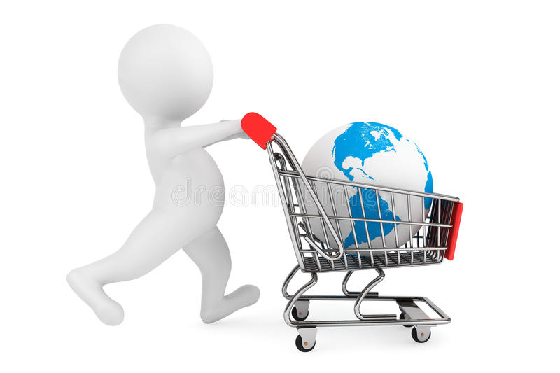 3d person with shopping cart and Earth Globe royalty free stock photography