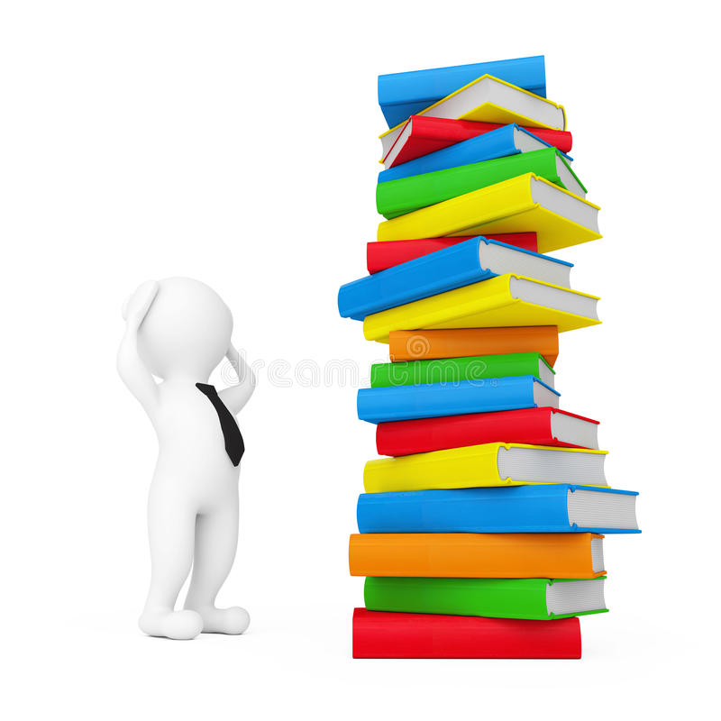 3d Person Stressed near Stack of Books. 3d Rendering royalty free illustration