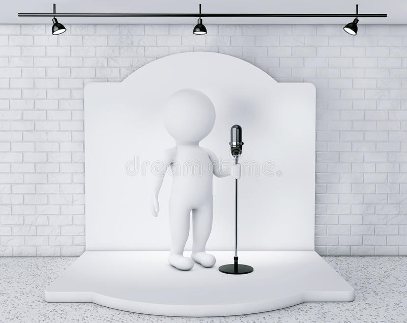 3d Person with Vintage Microphone standing on an stage. Extreme closeup stock illustration