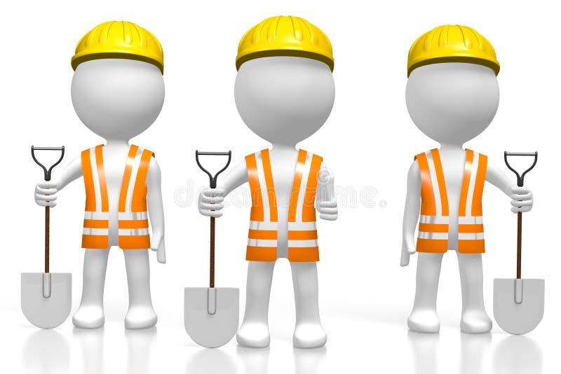 3D personagens de banda desenhada - trabalhadores que guardam pás ilustração stock