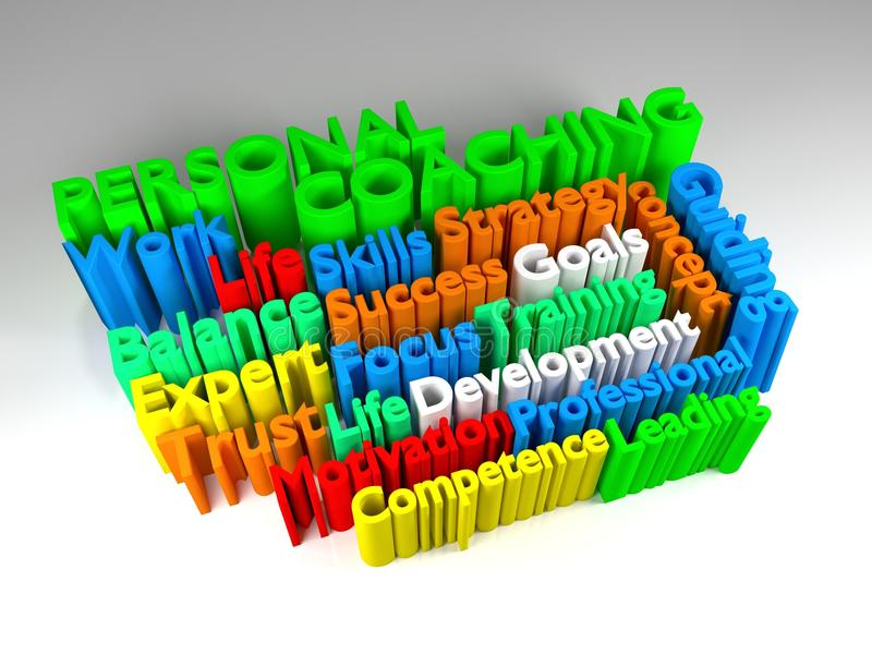 3D PERSONAL COACHING word cloud stock illustration