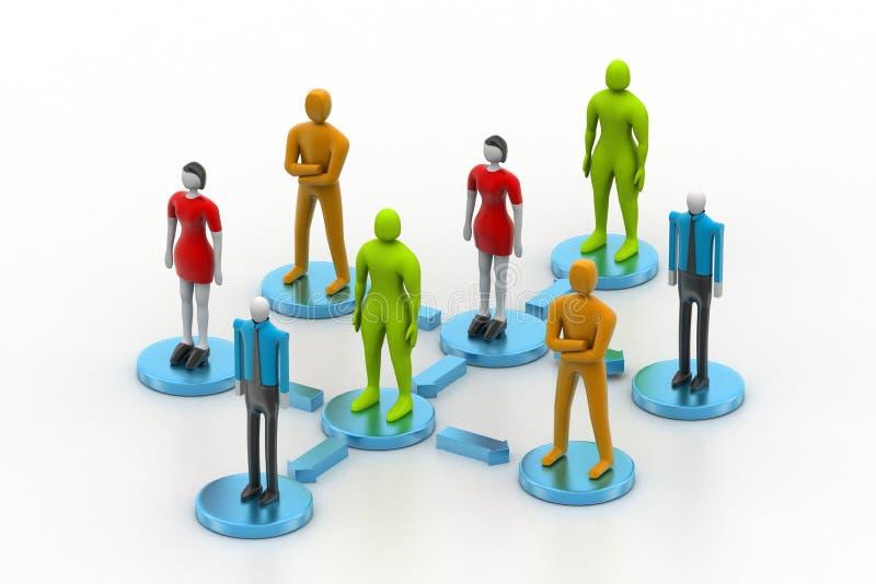 3d personen in sociaal netwerk stock illustratie