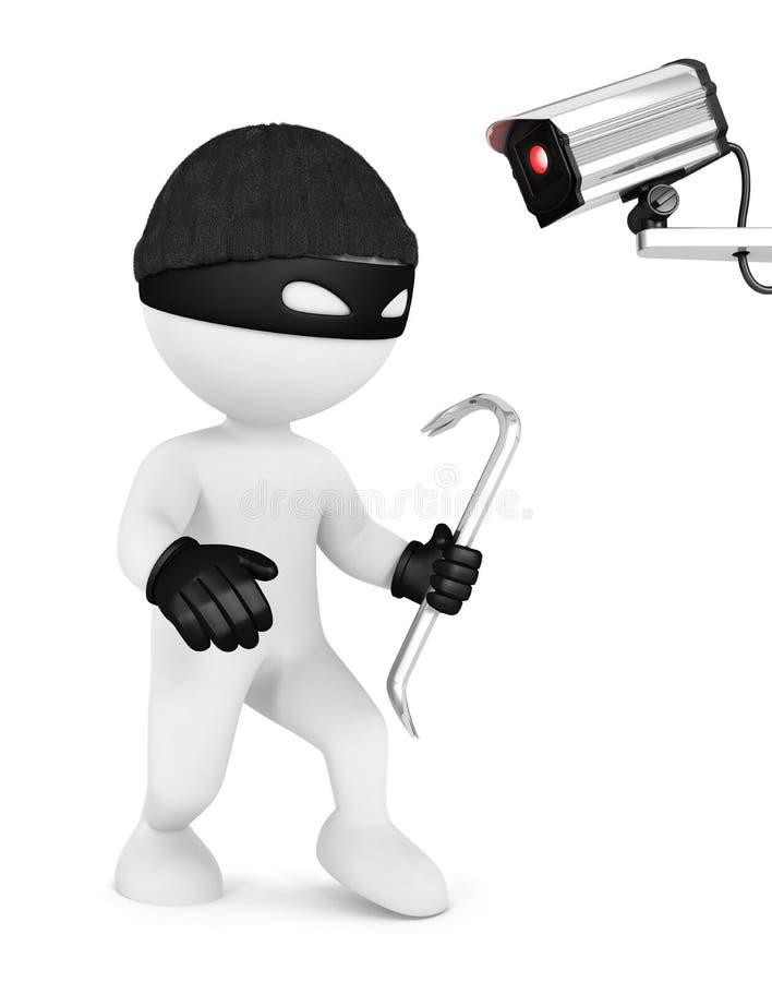 3d personnes de race blanche voleur et caméra de sécurité illustration libre de droits