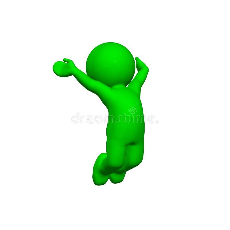 3D personnes vertes - acclamation - sur le fond blanc illustration de vecteur