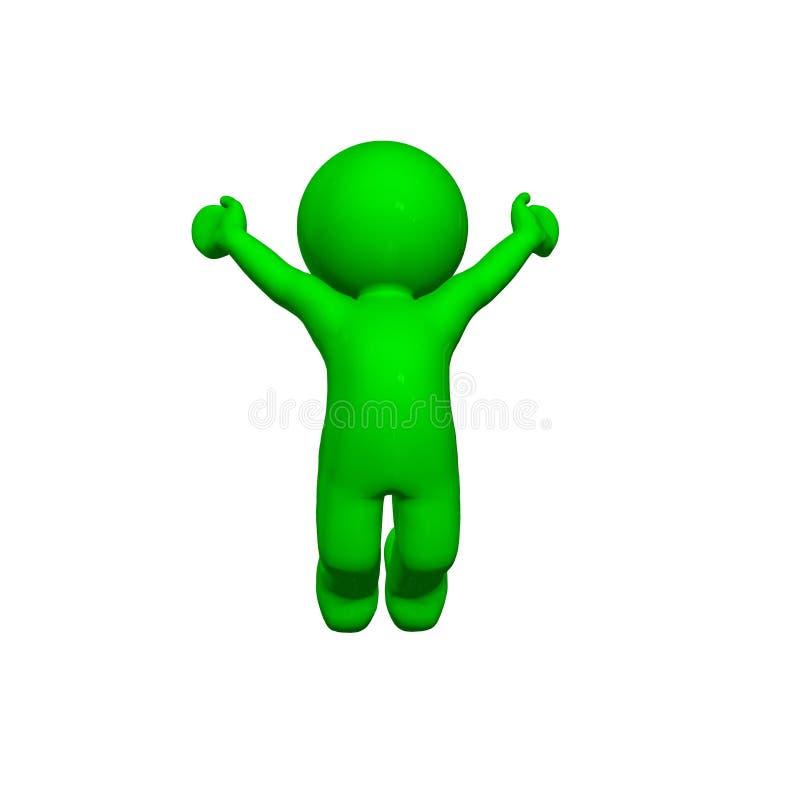 3D personnes vertes - acclamation - sur le fond blanc illustration libre de droits