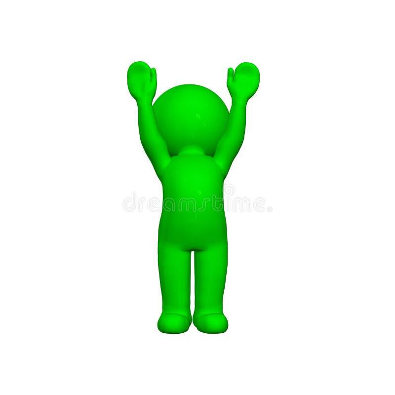 3D personnes vertes - acclamation - sur le fond blanc illustration stock