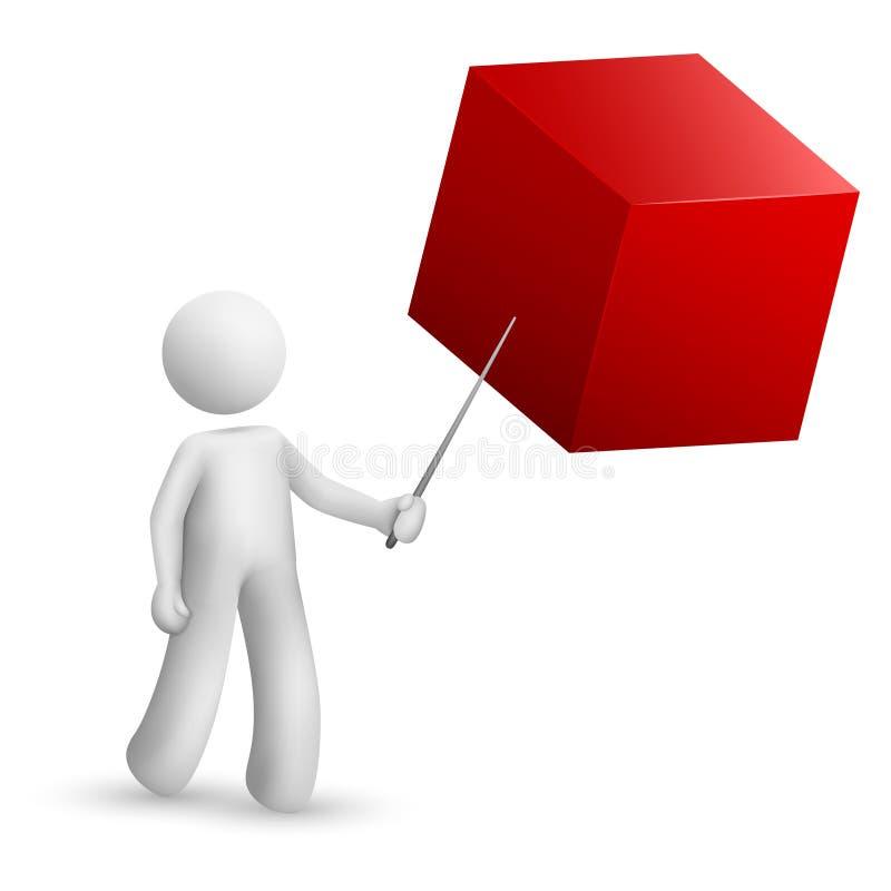 3d persoon die op een kubus met een stok richten vector illustratie