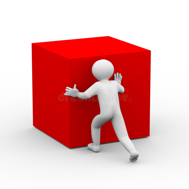 3d persoon die rode kubus duwen royalty-vrije illustratie