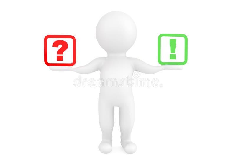 3d persoon met uitroep en vraagtekens in handen stock illustratie