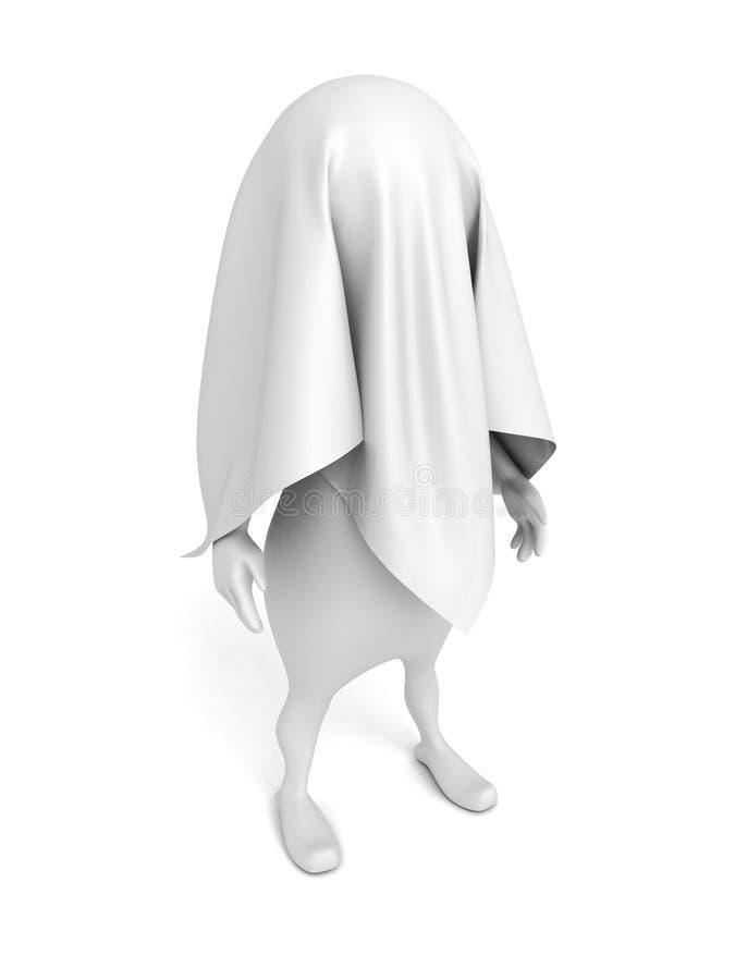 3d persoon omvat door witte doek stock illustratie