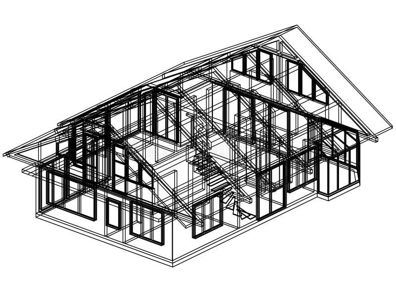 3D perspectief van de huisblauwdruk stock illustratie
