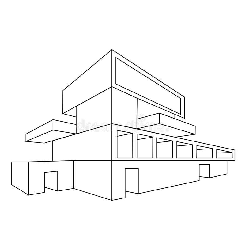 2D perspectieftekening van huis royalty-vrije illustratie