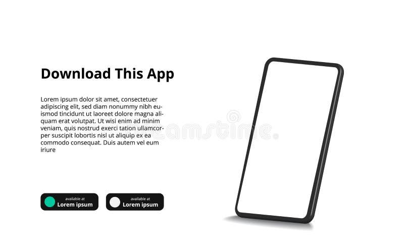 3D perspective mock up of smartphone concept for App download banner promotion vector illustration