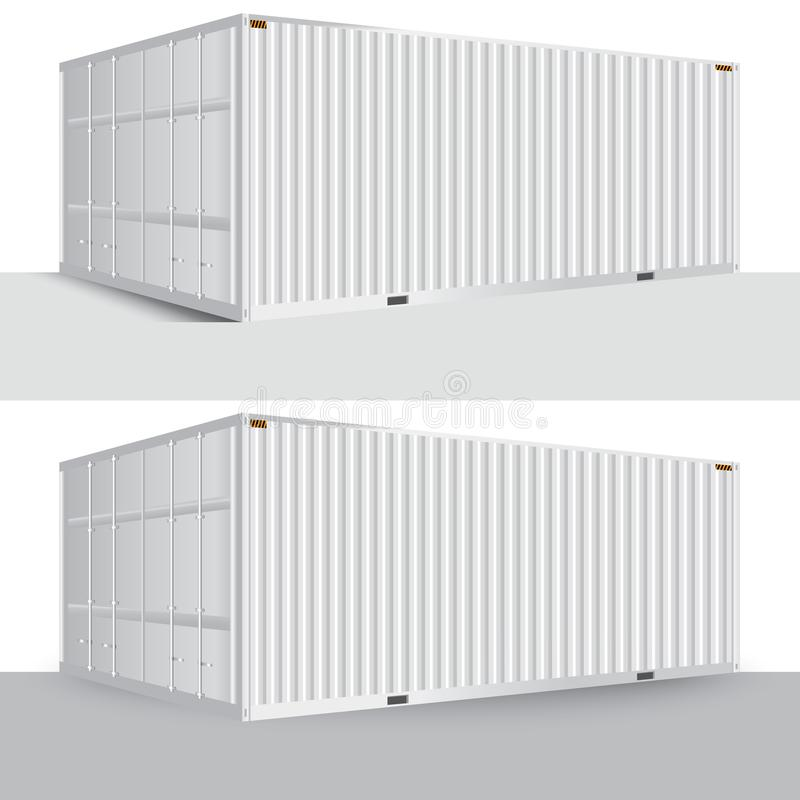 3d perspective white cargo container shipping freight isolated t vector illustration