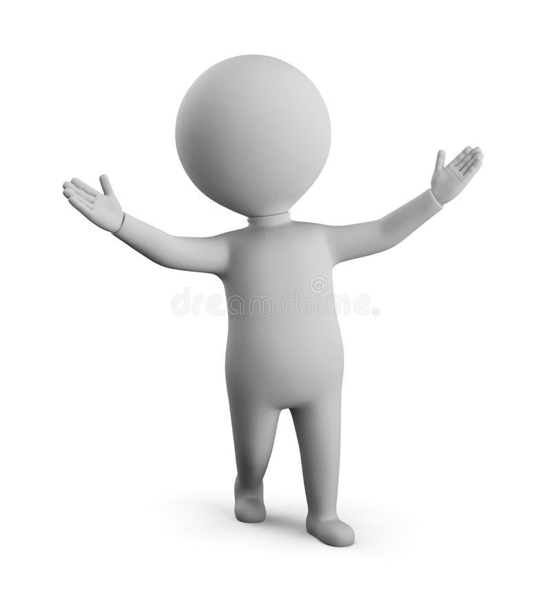 3D petit homme - ?tonnement illustration libre de droits