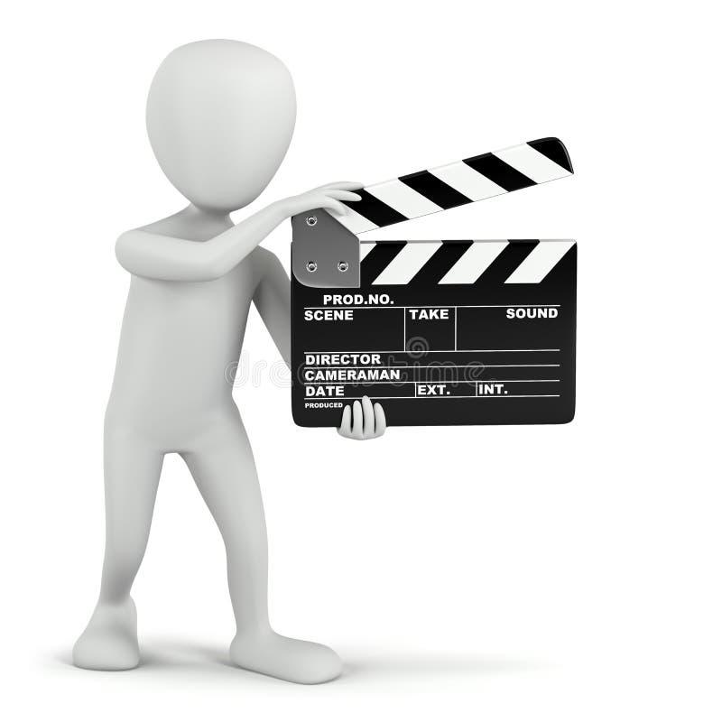 3D petites personnes - clapet de cinéma. illustration de vecteur