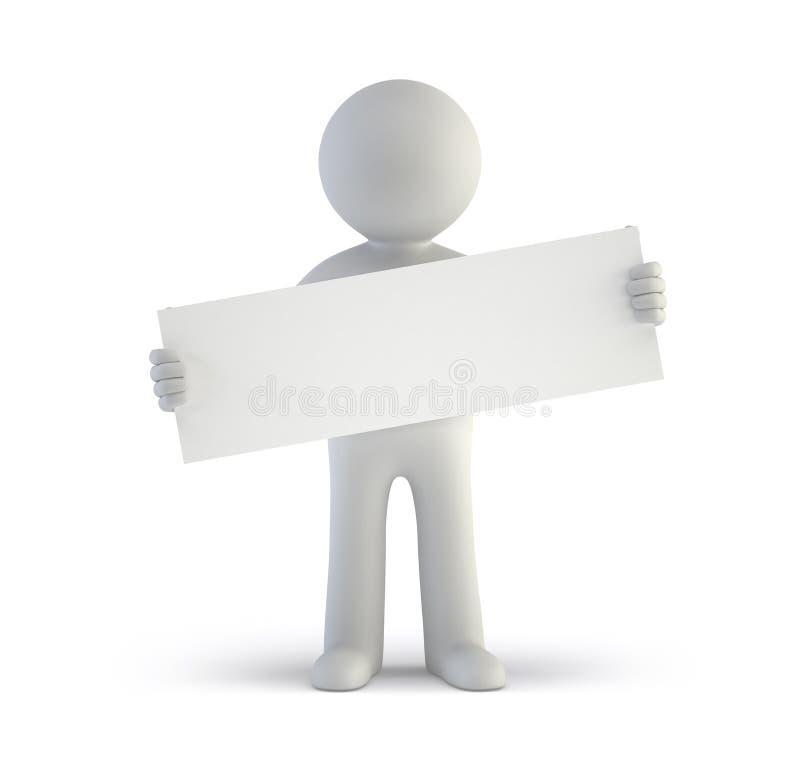 3d petites personnes - panneau blanc vide illustration libre de droits